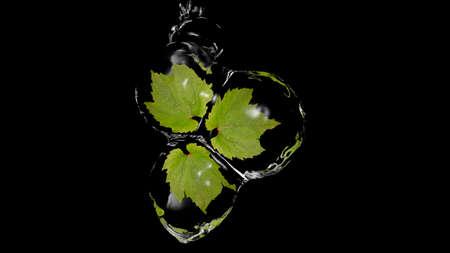 Leaves in water balls. 3d illustration