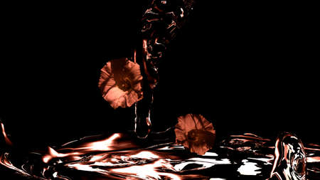 Flowing water with flowers, colors in red. 3d illustration