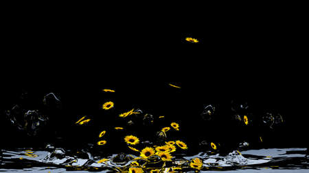 Sea from sunflowers. 3d illustration Stock Photo