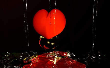 purely: Water play with red heart. 3d illustration Stock Photo
