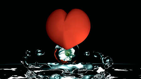On a red heart hangs a water bubble with a flower and together they dive into blue colored water. 3d illustration on black background Stok Fotoğraf - 82797859
