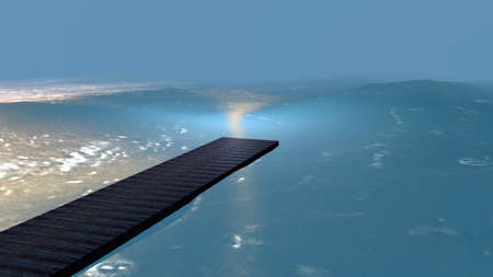 Wooden walkway leading into the blue sea. 3d illustration