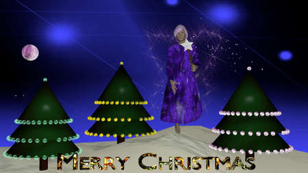 Christmas fairy in purple with radiant wings in front of Christmas trees with the text Merry Christmas. Christmas picture as 3d illustration