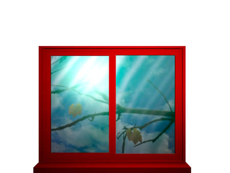 Red window frame with color intensive window looking at a bare branch and falling leaves.3d illustration