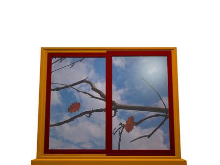 秋は黄色、赤色のウィンドウ フレーム ウィンドウ。3 d イラストレーション