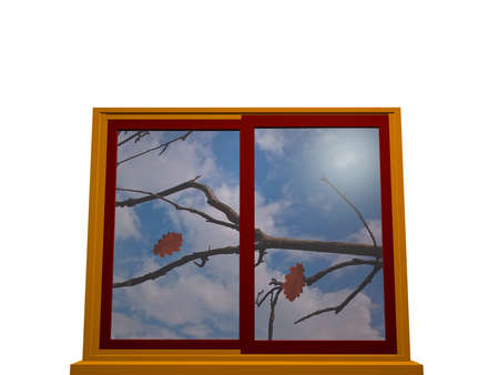Window in autumn with yellow-red window frame. 3d illustration