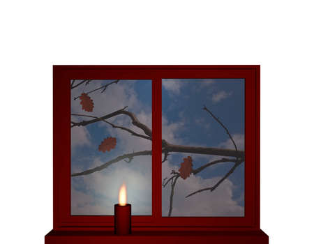 Window in autumn with a burning candle on the window sill. 3d illustration Reklamní fotografie
