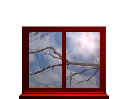 Autumnal window in red, looking at a bare branch and strong sunlight. 3d illustration