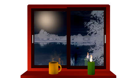 Window with a view of a nightly snow landscape. On the windowsill stands a steaming coffee cup and a burning candle. 3d illustration Reklamní fotografie