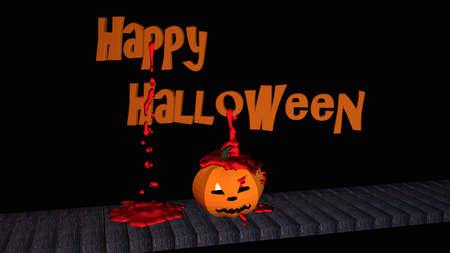Happy Halloween text with bright pumpkin lantern and blood drops. 3d illustration