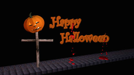 Happy Halloween text with pumpkin lantern on a wooden walkway. 3d illustration on black background