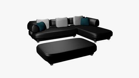 modern living room: Elegant, black leather sofa isolated on white. 3d rendering Stock Photo
