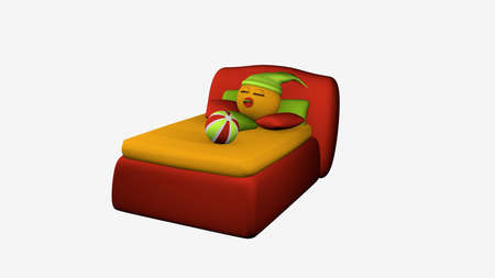 Cute emoticon sleeps in the red boxspring bed. 3d rendering isolated on white
