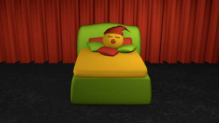 Cute emoticon sleeps in the green boxspring bed from the front view. Bed with pillow on black carpet floor in front of red curtain. 3d rendering Stock Photo