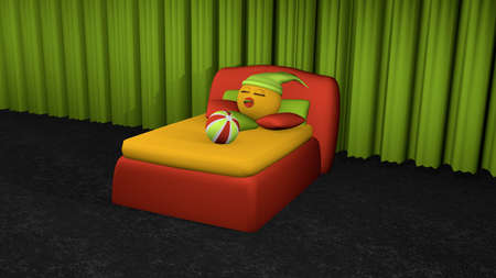 Cute emoticon sleeps in red boxspring bed. Bed with pillow and softball on black carpet floor in front of green curtain. 3d rendering Stock Photo