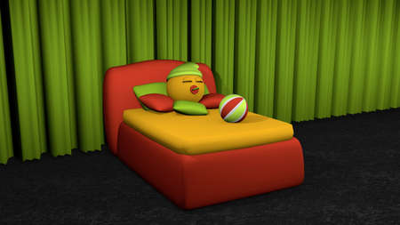 Cute emoticon sleeps in red box spring. Bed with pillow and softball on black carpet floor in front of green curtain. 3d rendering