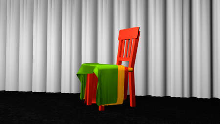 Chair with fabric for decoration on black carpet floor in front of a white curtain. 3d rendering Stock Photo