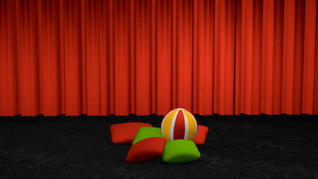 Cushion with a softball decorative on carpet floor in front of a curtain. 3d rendering Stock Photo