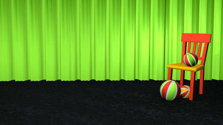 Decorative chair with softballs on black carpet floor in front of a green curtain. 3d rendering