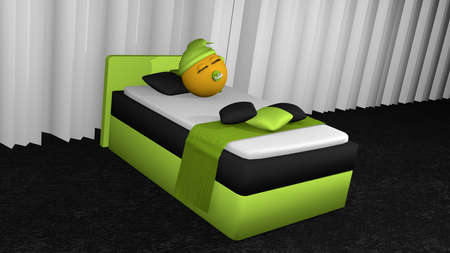 Cute emoticon with sleeping cap and pacifier is sleeping in the apple-green box spring. 3d rendering