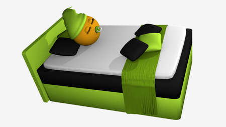 Cute emoticon with sleeping cap and pacifier sleeping in the apple green boxspring bed.To view from above. 3d rendering isolated on white