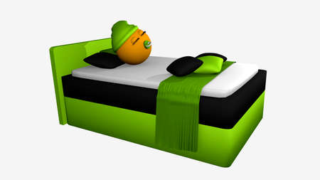 Cute emoticon with sleeping cap and pacifier is sleeping in the apple-green boxspring bed. 3d rendering isolated on white Stock Photo