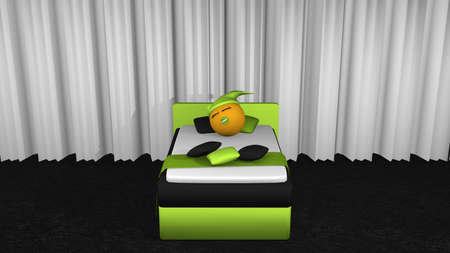 Cute emoticon with sleeping cap and pacifier is sleeping in the apple-green box spring. Front view. 3d rendering