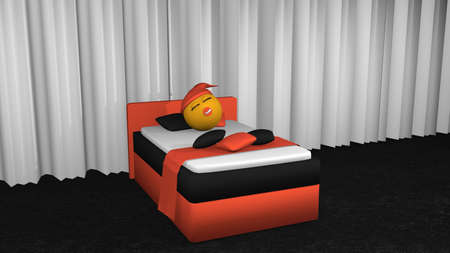Cute emoticon with sleeping cap and pacifier sleeping in the orange black box spring. 3d rendering