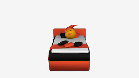 Cute emoticon with sleeping cap and pacifier sleeping in the orange black box spring. 3d rendering isolated on white