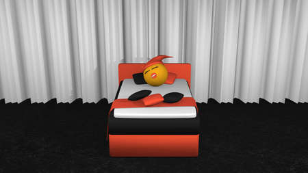 Cute emoticon with sleeping cap and pacifier sleeping in the orange black box spring. View from front.3d rendering