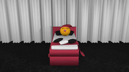 Cute emoticon with sleeping cap and pacifier sleeping in the blackberry box spring. View from front.3d rendering Stock Photo