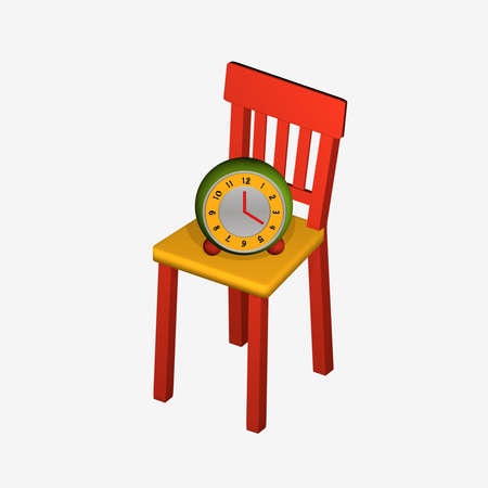 Color-intensive image with a chair on which an alarm clock is standing. The colors are yellow, red and green. 3d rendering isolated on white Reklamní fotografie