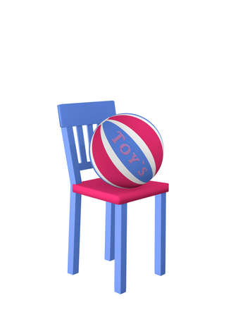 Chair on which a ball with the text Toys lies. Colors in blue-pink. 3d rendering isolated on white.