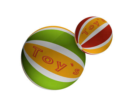 Balls with the text toys in green-yellow and red-yellow. 3d rendering isolated on white. Stock Photo