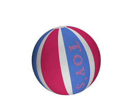 Softball with the text toys in blue-pink. 3d rendering isolated on white.