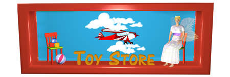 beautiful header for an Internet shop with toys. 3d rendering Stock Photo