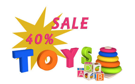 Lettering Sale 40% and Toys with learning toys for toddlers and letter cubes. 3d illustration