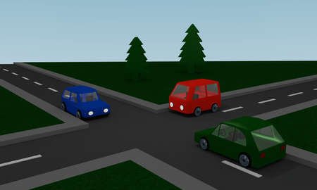 Crossing with colored cars. 3d Rendering