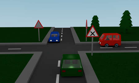 Crossroads with road signs and cars. 3d Rendering