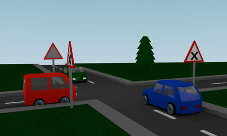 Crossroads with road signs and colored cars. 3d Rendering