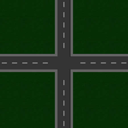 empty road crossroads. View from above. 3d Rendering Фото со стока