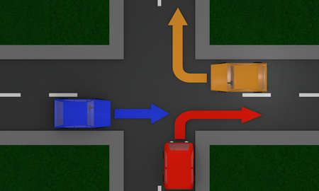 Road crossing with cars and directional arrows. View from above. 3d Rendering