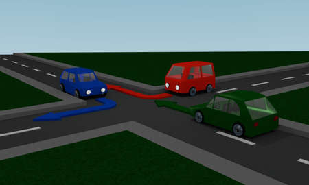 Streets with colored cars and directional arrows. 3d Rendering