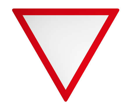 German traffic sign: Give way 3d rendering isolated on white. Stock Photo