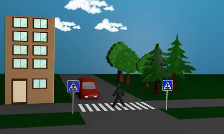 Road image with a pedestrian crossing a road. 3d rendering Фото со стока