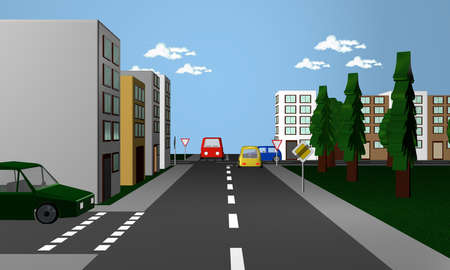 Crossing the road with the english road sign Exit road signposted and give way3d rendering Stock Photo