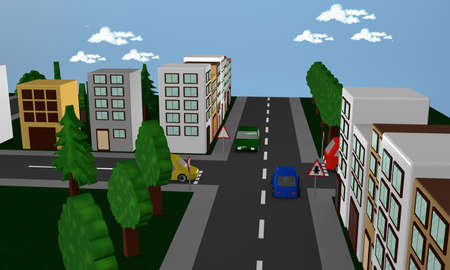 Street scene with cars, houses and the traffic sign driveway.3d rendering