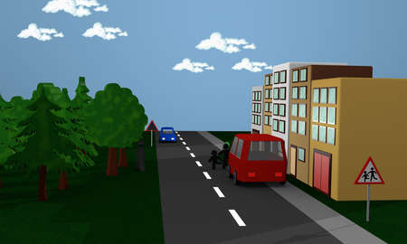 Street scene in the children behind a car stand and run on the street. With the German danger sign children. 3d rendering