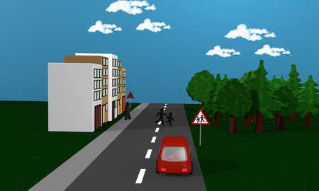Road with children running across the street. With the German danger sign children. 3d rendering