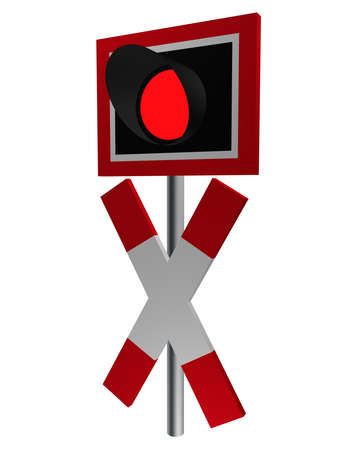 Traffic sign: Andreaskreuz with flashlight, side view, isolated on white. 3d rendering